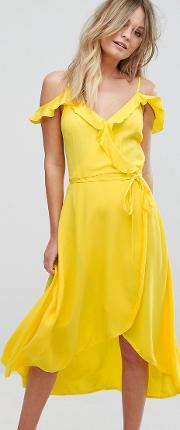 Frill Wrap Midi Dress