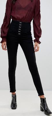 Hook And Eye Lace Up Jeans