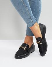 leather look buckle detail loafer