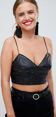 leather look studded bralet
