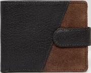 leather wallet in two tone brown