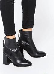 leather zip back ankle boot with block heel
