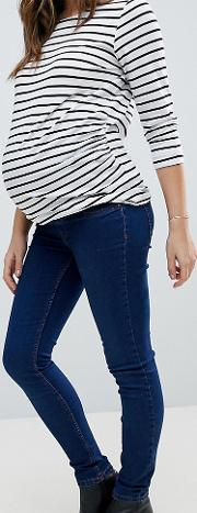 over the bump dark blue jegging