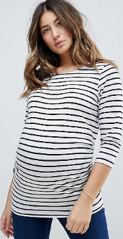 stripe  sleeve jersey top