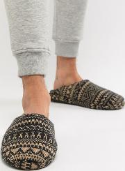 mule slippers with borg lining  fairsle print