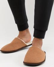 mule slippers with borg lining  tan