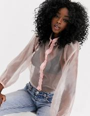 Organza Puff Sleeve Long Blouse