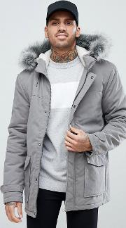 parka with borg lined hood  grey