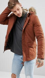 parka with faux fur hood in brown