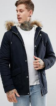 Parka With Faux Fur Hood In Navy