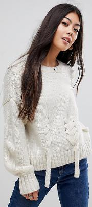 cream threaded lace up jumper