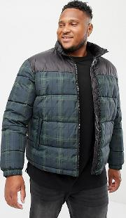 plus checked puffer jacket in navy