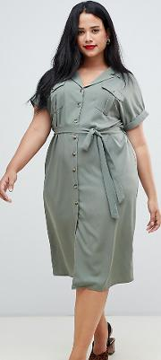 new look curve button down utility dress