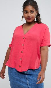 new look curve contrast button through shirt