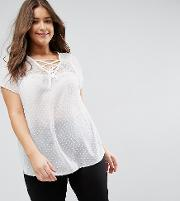 New Look Curve Dobby Lattice Front Blouse