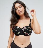 New Look Curve Embroidered Balconette Bra