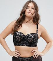 new look curve embroidered longline bra