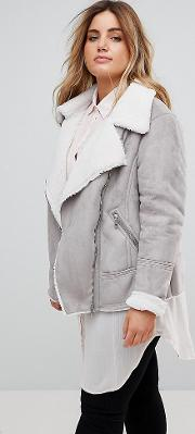 New Look Curve Faux Shearling Aviator Jacket