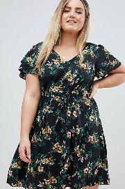new look curve floral dress