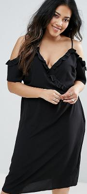 New Look Curve Frill Wrap Midi Dress