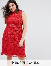 new look curve high neck cutwork lace dress