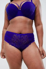 new look curve lace and strapping brazilian brief