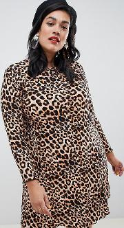 New Look Curve Print Dress Leopard