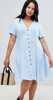 new look curve ruched sleeve tea dress