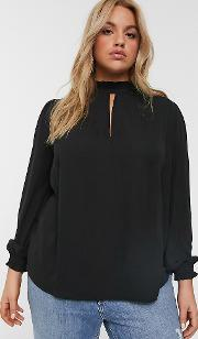 New Look Curve Ruffle Neck Blouse