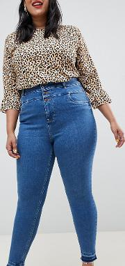 New Look Curve Skinny Jeans With Raw Hem