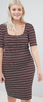 new look curve stripe bodycon dress