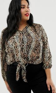 New Look Curve Tie Front Blouse