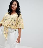 new look curve tie front button down blouse