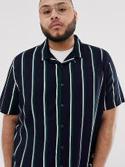 Plus Stripe Revere Collar Shirt