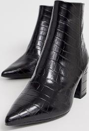 Pointed Block Heeled Boots Croc