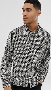 Regular Fit Shirt With Mono Tile Print