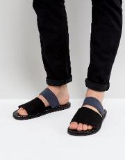 sandals with straps in black  navy