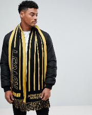 scarf with legacy in black and yellow
