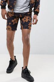 shorts with floral print  black