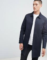single breasted cotton mac  navy