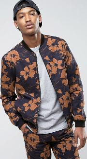 smart bomber with floral print  black