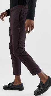 Smart Trousers With Pipping Detail Burgundy