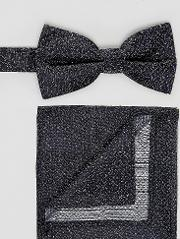 speckled bow tie and pocket square in navy