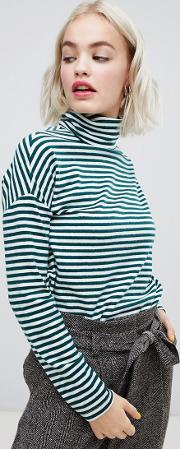 Stripe Brushed Roll Neck Top