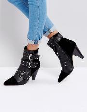 Stud Buckle Ankle Boot With Cone Heel