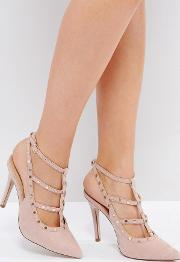 studded strappy heeled shoe