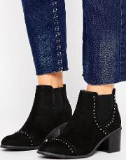 Suedette Stud Detail Heeled Ankle Boot