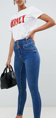 high waist skinny blue jean