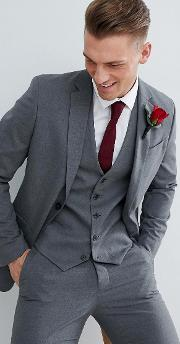 Wedding Skinny Fit Suit Jacket Mid Grey