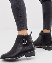 Buckle Detail Flat Ankle Boots